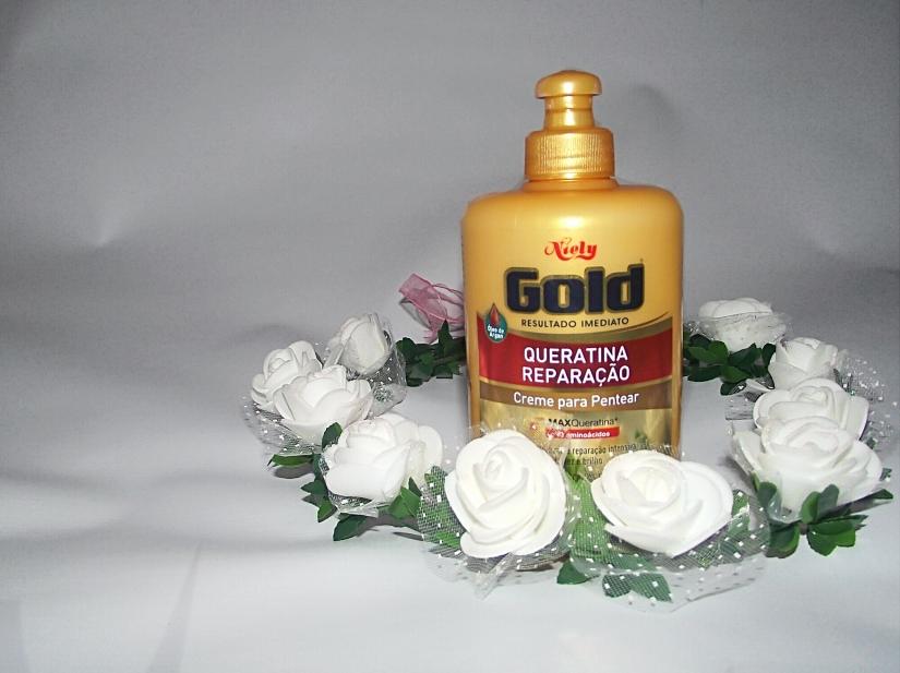 Creme de pentear Niely Gold Queratina Reparação-  Blog Cida Cachos