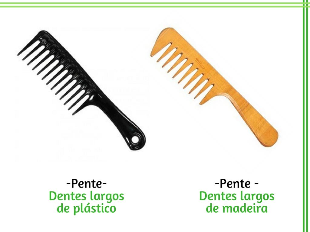 Pentes para cabelo cachyeado - Dentes largos de plástico e de madeira - Cida Cachos