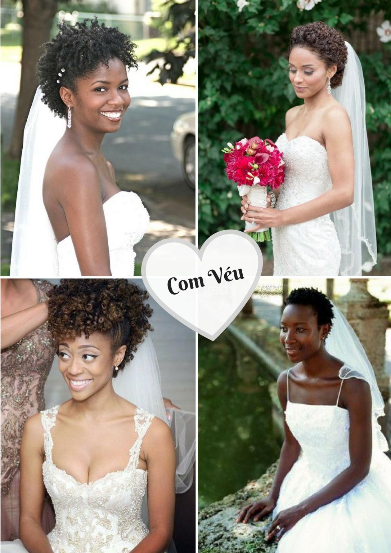 Penteados para noivas cacheadas e crespas com Véu - Blog Cida Cachos