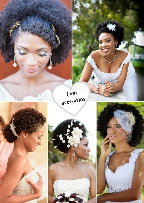 Penteados para noivas crespas e cacheadas com acessórios e penteados - Blog Cida Cachos