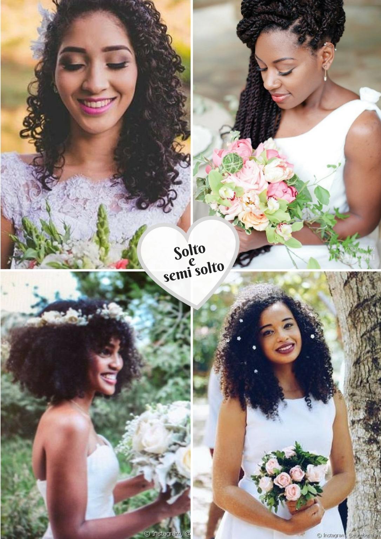Penteados soltos e semi soltos para noivas crespas e cacheadas - Blog Cida Cachos