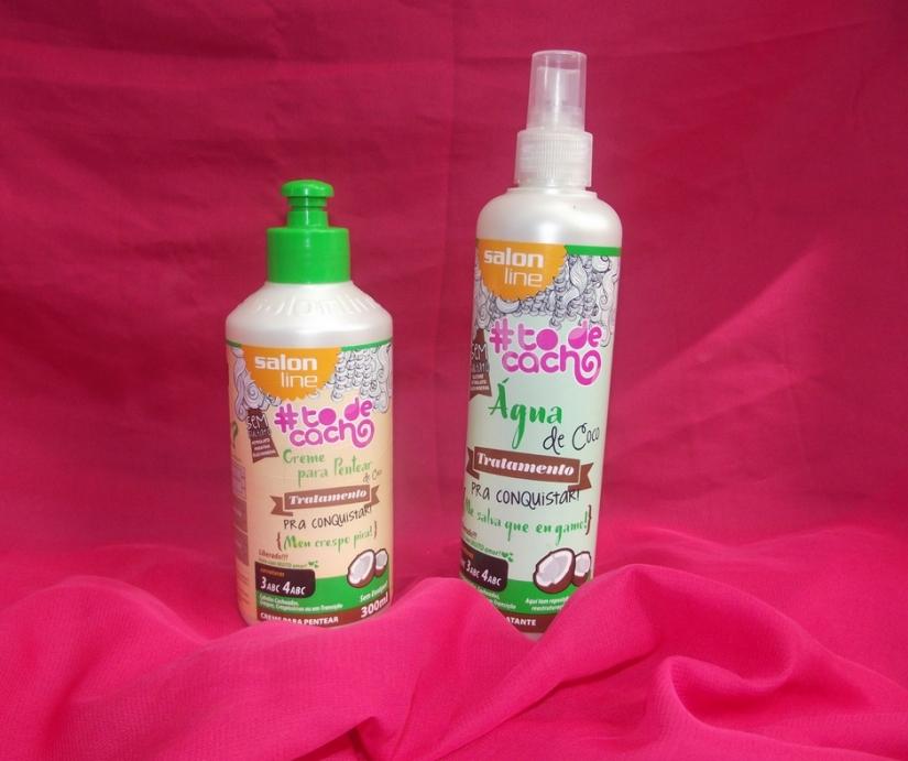 Água de coco e creme de pentear da Salon Line #TodeCacho da linha -Pra Conquistar- vegana