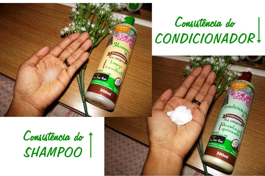 Consist~encia do Shampoo e Condicionador Linha de Coco Salon Lline - Blog Cida Cachos