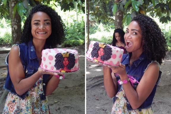 Pic Nic de 1 ano de Blog Cida Cachos - Bolo para cacheadas